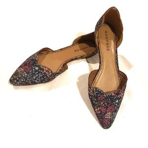 Rampage Blue and Pink Pointed Toe Floral Flats